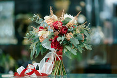 Beautiful bridal bouquet of fresh flowers Royalty Free Stock Photography