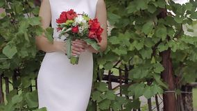 Beautiful bridal bouquet in hands of young bride dressed in white wedding dress. Close up of big bunch of fresh red tulips and flower in female hands stock video