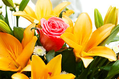 Beautiful bridal bouquet of lilies and roses Stock Photos