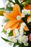 Beautiful bridal bouquet of lilies and roses Royalty Free Stock Photography