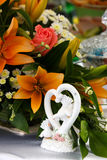 Beautiful bridal bouquet of lilies and roses Royalty Free Stock Images