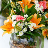 Beautiful bridal bouquet of lilies and roses Stock Photography