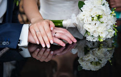 Beautiful bridal bouquet lying on the table Royalty Free Stock Photos