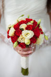 Beautiful bridal bouquet. Of the red & white rose Stock Photography