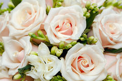 Beautiful bridal bouquet of roses at a wedding Royalty Free Stock Image