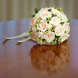 Beautiful bridal bouquet of roses at wedding party Royalty Free Stock Photography