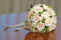 Beautiful bridal bouquet of roses at wedding party Stock Photography