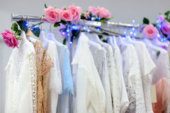 Beautiful bridal or bridesmaid dresses on a mannequin Royalty Free Stock Photography