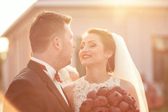 Beautiful bridal couple in the sunlight Royalty Free Stock Photos