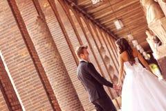 Beautiful bridal couple. In Szeged, Hungary Stock Image