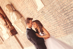 Beautiful bridal couple. In Szeged, Hungary Royalty Free Stock Image