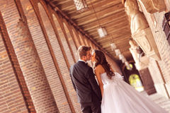 Beautiful bridal couple. In Szeged, Hungary Stock Photography