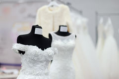Beautiful bridal dresses or bridesmaid dresses on a mannequin Royalty Free Stock Images