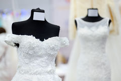 Beautiful bridal dresses on a mannequin Stock Photos