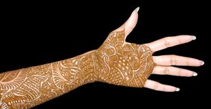 Beautiful bridal hand. With heena Royalty Free Stock Photo