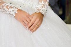 Beautiful bridal hands. stock illustration