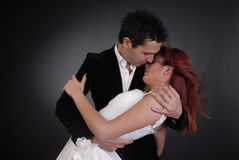 Beautiful bridal protraits. Beautiful bridal portraih and her groom Stock Images