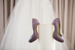 Beautiful bridal shoes Stock Photo