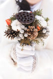 Beautiful bridal wedding bouquet in hands Royalty Free Stock Photos