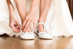 Beautiful bridal white shoes Royalty Free Stock Image