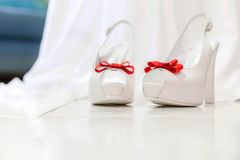 Beautiful bridal white shoes Stock Photography