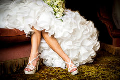 Beautiful bridal white shoes Stock Images