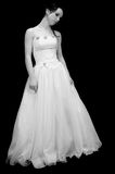Beautiful bride 03. Beautiful bride in wedding dress in black and white stock images