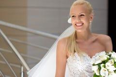 Beautiful Bride. Portrait of laughing pretty bride stock photos