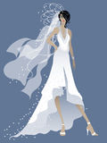Beautiful bride. In white dress waiting to get married on blue background Royalty Free Stock Images