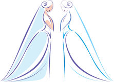 Beautiful bride. Contour drawing of beautiful bride Royalty Free Stock Photography