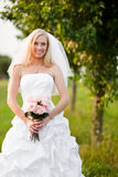 Beautiful bride. A shot of a beautiful caucasian bride outdoor stock photos