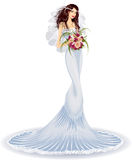 Beautiful bride. In wedding dress with bouquet of roses - vector illustration Stock Photography