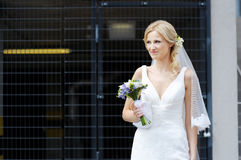Beautiful Bride. The beautiful bride smiling outdoors Stock Photography