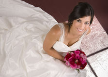 Beautiful Bride in Window Light Gown Floral Stock Photography