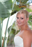 Beautiful Bride. Bride with full make-up and hair done ready for her wedding day royalty free stock image