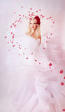 Beautiful bride. Surrounded by rose petals Stock Images