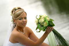 Beautiful bride. Portrait of the beautiful bride with a bouquet Royalty Free Stock Photo