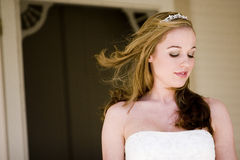 Beautiful Bride. A beautiful bride looking down royalty free stock photography
