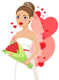 Beautiful bride. Beautiful smiling bride holding a bouquet of roses Royalty Free Stock Image