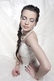 Beautiful Bride. The beautiful bride poses in a white wedding dress Royalty Free Stock Photo