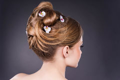 Beautiful bride. Beautiful wedding hairstyle with flowers. Bride Stock Photos