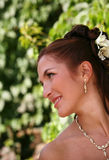 Beautiful bride. The beautiful bride on a green background Stock Photography