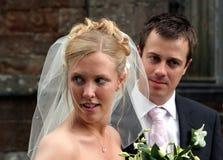 Beautiful Bride. Beautiful blonde bride glancing sideways Royalty Free Stock Photography