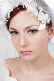 Beautiful bride. Portrait of beautiful green-eyed bride with natural makeup Royalty Free Stock Photography