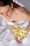 Beautiful Bride. Beautiful young bride looks at the camera and smiles royalty free stock images