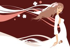 Beautiful Bride. With rose. Vector illustration Royalty Free Stock Photography
