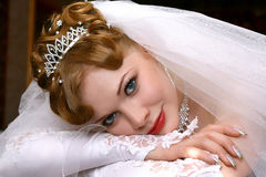 Beautiful bride. Young beautiful bride with red hair Stock Photos