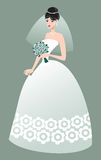 Beautiful bride. Vector illustration of Beautiful bride with a bouquet Stock Photography