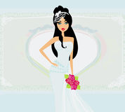 Beautiful bride on an abstract background. Illustration Royalty Free Stock Image