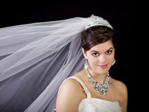 Beautiful Bride Against Black Background Stock Photography